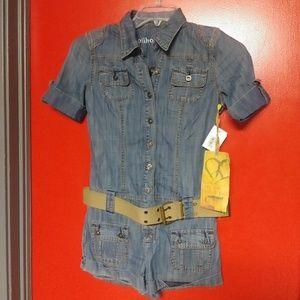 Dollhouse Jeans & Rock & Roll Romper NWT XS w/Belt
